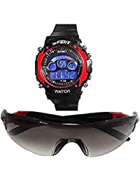 sba prime Digital Red 7 Lights Watch +Sports Sunglasses for Age 7 to 15 Years Boys & Girls (Combo)