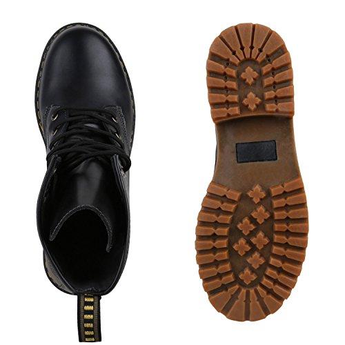 Geschnürte Herren Worker Boots Profil Sohle Stiefel Stiefeletten Schwarz