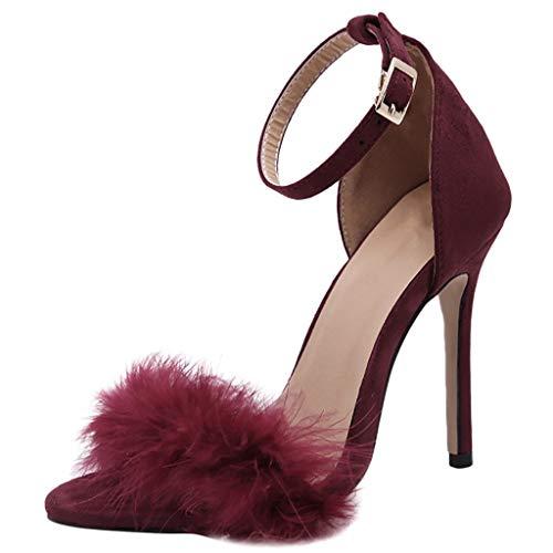 NMERWT Women's Sandalen Ankle Strap High Heels Feder Adorn Schnalle Ankle Open Toe Sandals High Stiletto Frauen Sommer Pump Heel Sandals -