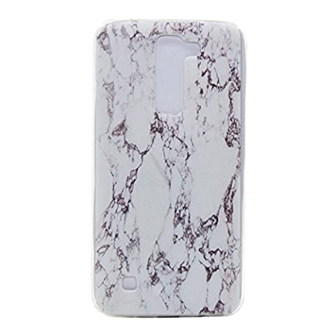 LG K7/ K8 Hülle,LG K7/ K8 TPU Silikon Handy Hülle Schutzhülle, Cozy Hut Marmor Muster Stoßdämpfend Transparent TPU Silikon Schutz Handy Hülle Case Tasche Silikon Crystal Case Durchsichtig Schutzhülle Etui Bumper für LG K7/ K8 (5 Zoll) - (Ss Muster)