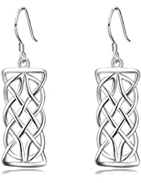 90c9eed5f16e Pendientes colgantes de plata de ley con nudo celta rectangular de  filigrana para mujeres y niñas