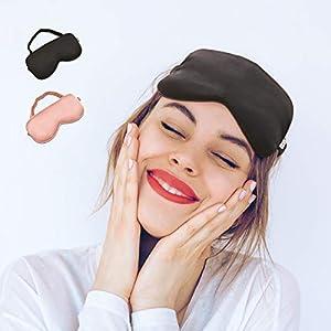 Kuschel Schlafmaske (100% Seide) – Beeindruckend weiche & bequeme Schlafmaske für Frauen mit Stil (+ E-Book: Geheimnis des schnellen Einschlafens!) – in Rosa/Schwarz