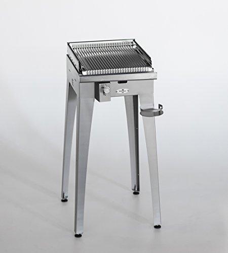 Barbecue a Gas BBQueen Grill 4.4 Inox con Piastra Inox (Barbecue Portatile, Barbecue a Piastra, Barbecue per Campeggio, BBQ Gas, Barbecue per Terrazzo/Balcone, Barbecue da Esterno) (Piastra Ondulata, Standard)