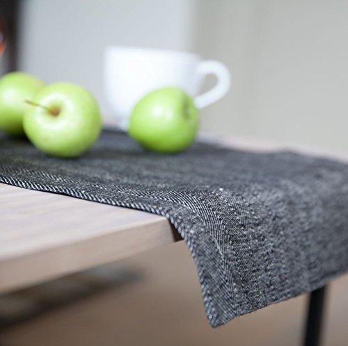 Tischläufer 100% Leinen Herringbone (40x140cm oder 40x190cm), Schwarz
