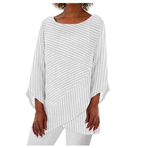 Hanomes Damen unregelmäßige Nachahmung Rüschen Shirt Damen Einfarbig Leinen Hem Bluse Lange Ärmel Rundhals T-Shirt Blusen Damen Langarmshirt -
