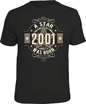 Herren Geburtstag T-Shirt 18 Jahre - A Star was Born 2001 - lustige Shirts 4 Heroes Geschenk-Set Bedruckt mit Urkunde