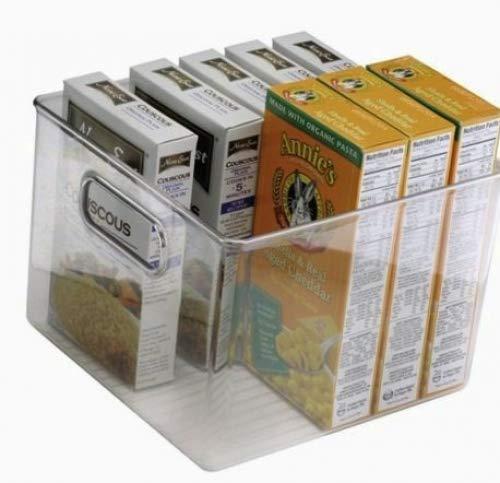 mDesign Juego de 2 cajas organizadoras para alimentos ? Tamaño pequeño ? Cajas de almacenaje con asas ? Ideales para despensa, frigorífico o congelador ? Accesorios de cocina ? transparente