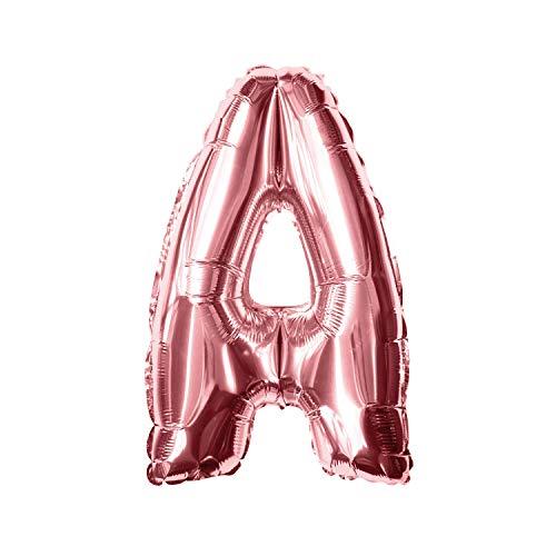 Oblique Unique® Folien Luftballon alle Buchstaben Alphabet ABC Herz Stern in Roségold für Geburtstag Jubiläum Schuleinführung JGA Hochzeit Baby Shower Party Deko Folienballon - wählbar (Buchstabe A)