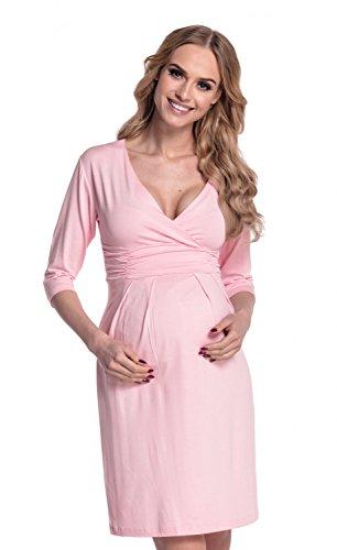 Happy Mama. Damen Viskosejersey Umstandskleid. Schwangerschafts Kleid. 001p (Pulver Rosa, 40) (Runde-hals-mutterschaft-kleider)