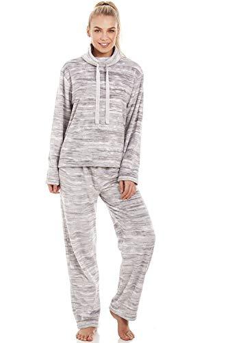 CAMILLE Supersoft-Fleece-Pyjama-Sets für Damen 40/42 Grey