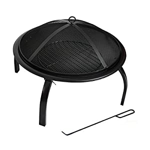 KCT Round Fire Pit Bowl & Lid - Garden Patio and Outdoor Camping Heater/Burner