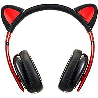 BC Master Auriculares Bluetooth Inalambricos con orejas de gato Universal 3.5mm Audio Plug y Bluetooth 4.0 Compatible para Smartphone, PC, Laptop, MP3, etc - Negro