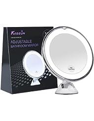 KEDSUM Miroir de Maquillage Lumineux 10X Grossissement, Lumières LED, Ventouse d'Attache , 360°Rotation, Pliable, Régable, Idéal pour Maquillage et Rasage, Miroir de Poche Loupe