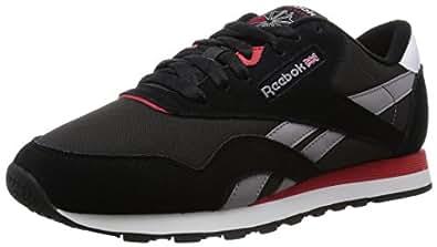 Reebok Classic Nylon, Chaussures de Running Compétition Homme, Schwarz (Black/Coal/Tin Grey/Scarlet/White), 38,5 EU