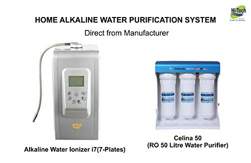 Hi-Tech ALKALINE WATER IONIZERS 7 PLATES and Celina-50 LPH RO Alkaline Water Filtration System | Produces pH 3-11.5 Alkaline Water | Up to -500 to -800 ORP | Titanium Plates Platinum coated