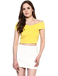 Veni Vidi Vici Yellow Bandage Bardot Off Shoulder Crop Top 9ddf8b08a