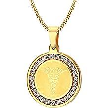 Vnox Caduceo maschile femminile Pharmacy Medical Alert ID zirconi rotonda dell'oro della collana del pendente,libero incisione