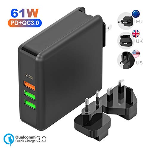 61W USB C Ladegerät Stromversorgung 3.0 Typ C Ladegerät + 24W QC3.0 Schnellladung + Dualer 12W USB Port Reisender Austauschbarer Stecker Kompatibel für MacBook, Pixel, iPad, Galaxy Series, Nintendo - Von Usb-ladegerät Apple Draht Ipad