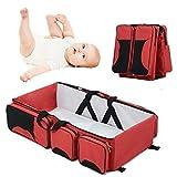 OOFAY Bolsa De Pañales 3 In1 Baby Travel Bassinet Estación De Cambio Portátil Mummy Messenger Bag Plegable Cuna para Bebés Al Aire Libre,Red