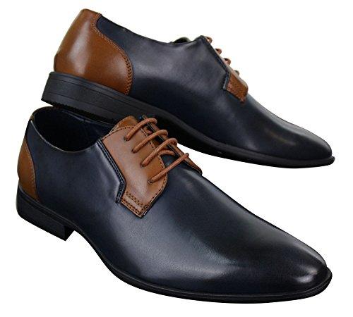 Herrenschuhe Blau Braun Schwarz Formell Schnürsenkel Italienisches Design Blau/Braun