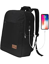 Laptop Backpack, Business Computer Bag Waterproof Travel Backpack College School Bookbag for Men Women with USB Charging Port Fits 17 inch Laptop & Notebook Large Capacity Backpacks by beyle (Black)