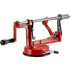 qobobo® 3 en 1 - Eplucheur de pommes & Vide-pomme Machine pour éplucher, évider et couper les pommes Design en rouge