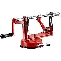 qobobo® 3 in 1 - Apfelschäler & Entkerner - Apfelschäler Apfelentkerner Apfelschneider Apfelschälmaschine Apfel Rot