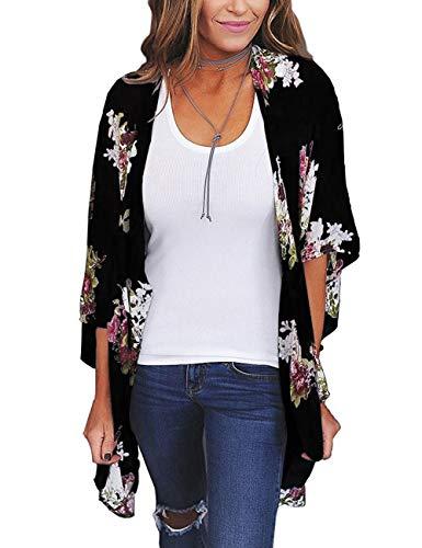 ECOMBOS Damen Florale Kimono Cardigan - Chiffon Tops Cardigan Bluse Shawl Sommer Beachwear Cover up Leichte Boho Strand Jacke (Schwarz-b, L)
