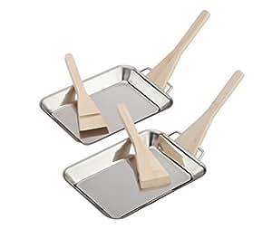 Landmann 13711 Set mit 2 Mini-Bratpfannen, Silber,18 cm x 12,7 cm x 2 cm