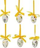 6er Set Porzellaneier - Vergoldet - Blumenmotive- Stilvoll und modern