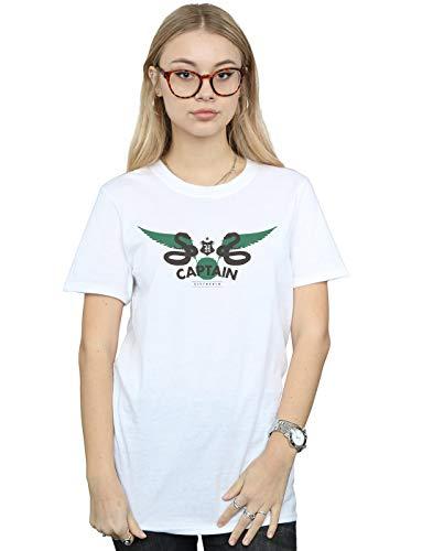 Harry Potter Damen Slytherin Captain Boyfriend Fit T-Shirt Weiß XXXX-Large