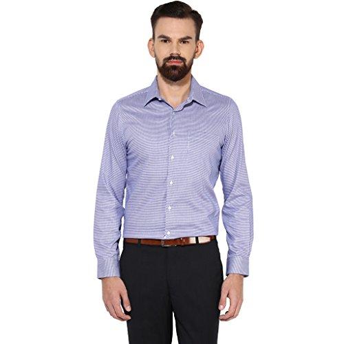 Turtle Men's Blue Houndstooth Slim Fit Formal Shirt