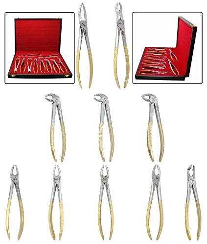 CANDURE® Zahnextraktion Zangen Set, Zahnextraktionszange, Zahnextraktion, Zahnzange, Zahnärztliche Instrumente, Zahnarzt Werkzeuge - 10 Stück (Molaren Obere)