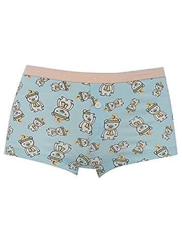M&Co Teen Girl 100% Cotton Light Blue Polar Bear Print Pink Branded Stretch Waist Button Boxer Briefs Multicolour