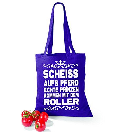 Artdiktat Baumwolltasche Scheiß auf´s Pferd - Echte Prinzen kommen mit dem Roller yellow violet