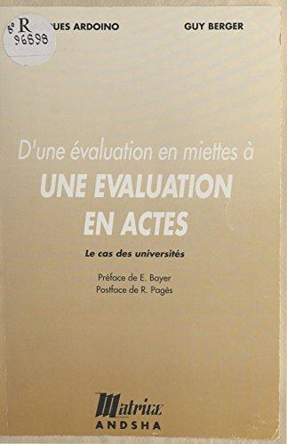 Livres D'une évaluation en miettes à une évaluation en actes : le cas des universités pdf, epub ebook