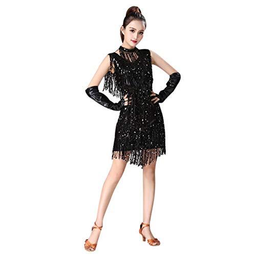 Charleston Dance Kostüm - Leezo V Neck 1920er Jahre Latin Dance Pailletten Fransen Rock Charleston Flapper Dance Kleider Kostüme