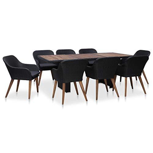 Tidyard- 9-teiliges Garten-Essgruppe Set 1 Tisch & 8 Stühle mit 8Kissen Gartenmöbel Sitzgruppe Poly Rattan Schwarz Grau