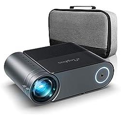 Vidéoprojecteur, ELEPHAS Videoprojecteur 4600 Lumens Mini Projecteur Vidéo Soutien 1080P Rétroprojecteur Full HD LED Portable Multimédia Home Cinéma Compatible VGA HDMI AV USB