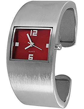 Pacific Time Damen-Armbanduhr Spangenuhr Armreif Damenuhr gebürstet Analog Quarz silber rot 21627
