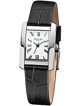 Regent Damen-Armbanduhr Elegant Analog Leder-Armband schwarz Quarz-Uhr Ziffernblatt weiß URF585
