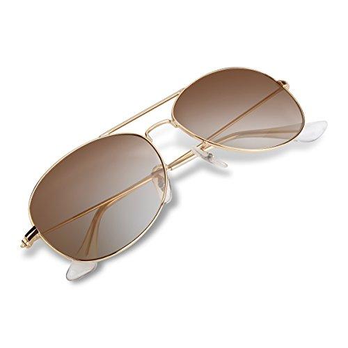 Wenlenie Flieger Sonnenbrille Damen Klein, Aviator Gesicht Metallrahmen Glasobjektiv Sonnenbrille W3362