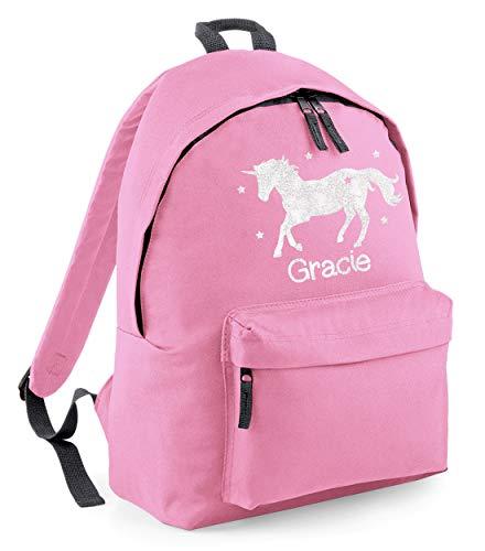 Absolutely Top Glitzer-Rucksack mit Einhorn-Motiv, personalisierbar Blush Pink/White Glitter Print 38 x 28 x 19cm -