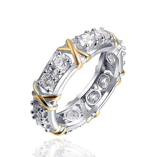 J-Z Fashionring Kreuz X Strass Ring für Frauen Hochzeit Ringe Gold Lila Klar Cz Schmuck Mariage Frauen Kristall Ringe, Ring, 6 - Cz Herren Ringe Alle