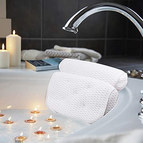 AmazeFan Badewannenkissen, Luxus Badewanne & Spa-Kissen mit 4D-Air-Mesh-Technologie und 5 Saugnäpfen. Stützfunktion für Kopf, Rücken, Schulter, Nacken. Geeignet für Badewannen, Whirlpools und Home Spa