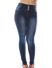 FARINA 1329 Pantalon vaquero de mujer, Push up/Levanta cola, pantalones elasticos colombian,color azul,talla 34-48/XS-3XL