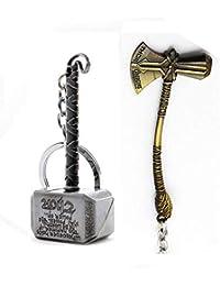 Mist Silver Thor Axe-Hammer & Mjolnir- Hammer Stormbreaker Key Case (Set Of 2)