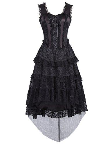 Elegant Partykleid Frauen Steampunk Kleid Sleeveless Kleid Schwarz Rockabilly Kleid Corsage Kleid renaissance Kleid S BP353-1 (Renaissance Kleider Kostüme)