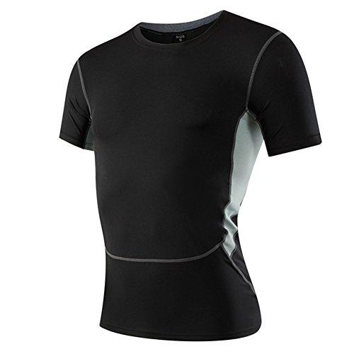 AiJump Herren Kompression Under Base Layer Sportlich Fitness T-Shirt Muskelshirt mit Herrenleggings Hose Kurz Schwarz