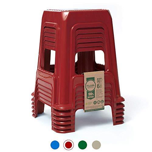 MINDABLE Stapelhocker 45,7 cm Set von 6 Stück 18,6 kg Kunststoff Upcycled tragbar Outdoor/Indoor Sitzgelegenheit Modern rot